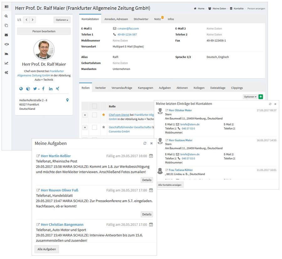 Mediendatenbank zur Kontaktverwaltung